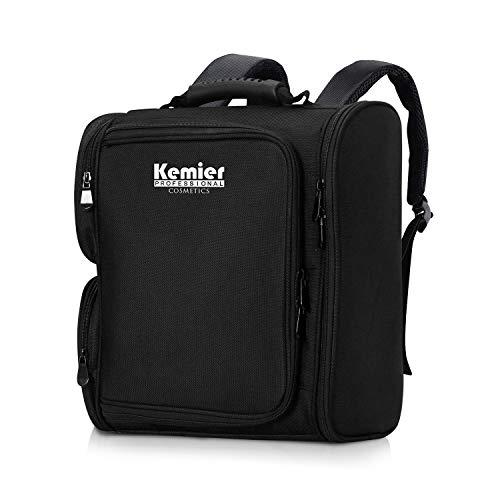 Kemier Trucco Borsa Protable Artist Zaino Trucco Custodia da Viaggio Trucco Organizer Bag Trousse da Toilette Borsa Cosmetica con Sacchetti - Nero