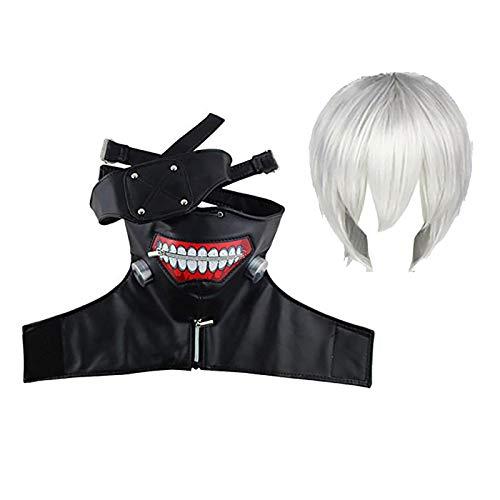 Shuifeng Anime Cosplay Investigator Haise Sasaki White Uniform Cosplay Costume Kaneki Ken Cosplay con Parrucca/Maschera per Il Viso Set Completo per Feste di Carnevale di Halloween