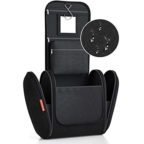 Borsa da Bagno Extralarge (XXL) [Capacità 8 litri] Borsa da Toilette per Uomini e Donne Beauty Case per Uomo e Donna Pochette da Viaggio per Uomini e Donne, con gancio appendiabiti (Nero)