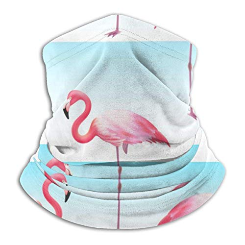 WlQshop Sciarpe,Collo Scaldacollo Flamingo Seamless Blue White Stripe Neck Gaiter Face Mask Bandana Seamless Headband for Men Women Sun UV Wind Dust Protection Skiing Riding Running