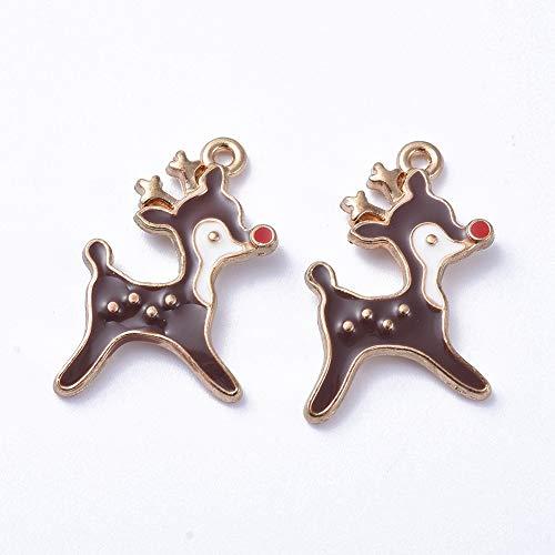 50 ciondoli placcati oro smaltati, in lega, 21 x 14 mm, per collane, bracciali, orecchini, regali di Natale