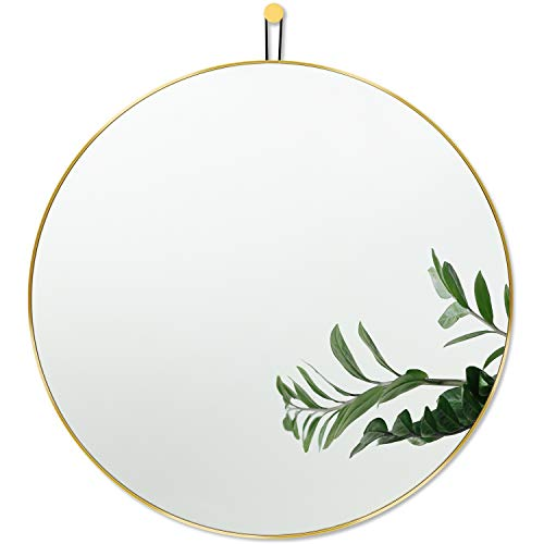 Harmati Specchio rotondo con cornice in metallo dorato, 50 x 50 cm, specchio decorativo da parete per corridoio, soggiorno, camera da letto, bagno e da appendere, design moderno