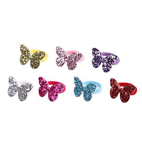 AOLYDA Per bambini, ragazze, capelli, corda, ornamenti per capelli, 7 pezzi, ragazza per bambini, forma di farfalla, paillettes, elastico, coda di cavallo, anello per capelli, corda, colore casuale