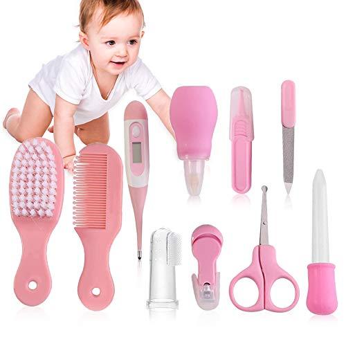 Set per la Cura del Bambino, Baby Kit per la Cura del Bebè, 10 Pezzi Beauty Baby Care Set, Baby Forbicine per Unghie e Capelli, Spazzolini da denti, Tagliaunghie, Alimentatore per Neonati