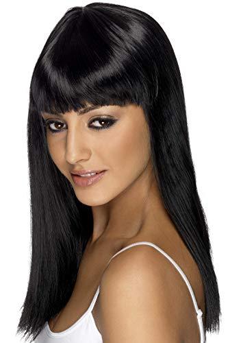 SMIFFYS Parrucca glamour, nera, lunga, liscia con frangetta