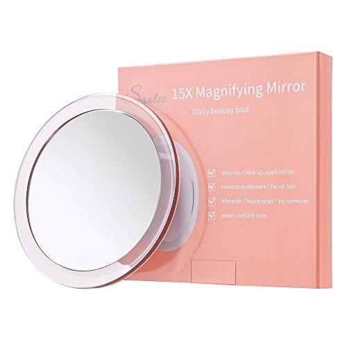 15X Specchio ingranditore (15cm Rotondo) - con 3 Ventose Utilizzare per un'applicazione di Trucco precisa - Sopracciglia/Tweezing - Rimozione di Punti Neri - Specchio per Il Trucco da Bagno/Viaggio