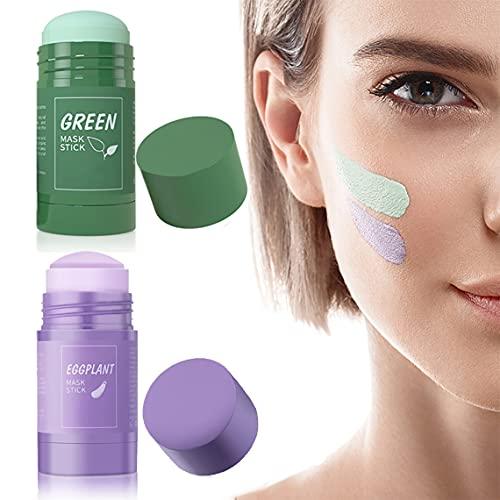 2PCS Green Tea Cleansing Mask,Maschera Detergente,Maschera idratante naturale per cura della pelle,ricco di tè verde&estratto di melanzane, regolazione dell'equilibrio del grasso(green tea&eggplant)