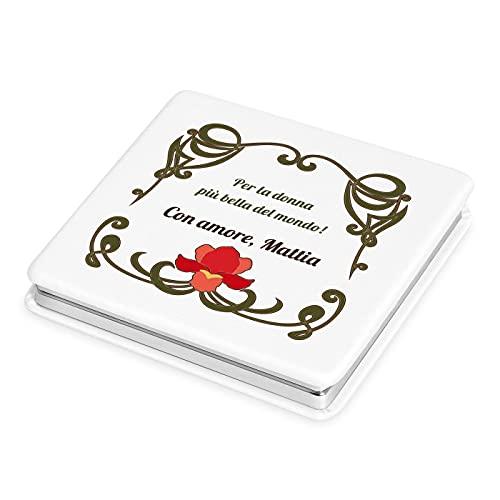 Maverton Specchietto da Borsa Personalizzato con la Stampa - Specchio Quadrato Bianco - Specchio Ingranditore + Specchio - Specchio Trucco - Pieghevole - Tascabile - regalo donna - Giglio