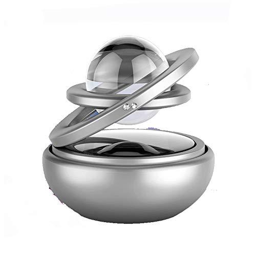 Ttiy Deodorante per auto solare per auto, con diffusore a 360° rotante per aromaterapia, doppio anello, purificatore d'aria per casa, ufficio, diffusore di profumo (argento)