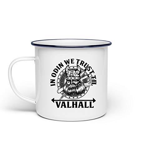 In Odin We Trust Til Valhall | Wikinger Walhalla Odin Thor Wotan Rocker Biker Germanen Tyr – Tazza smaltata bianco Taglia unica