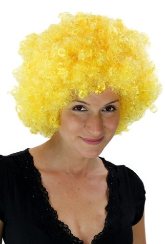 WIG ME UP - Parrucca Afro Giallo, Tokyo, Musica Funk, Discoteca, PW0011 -PC2B(A430)