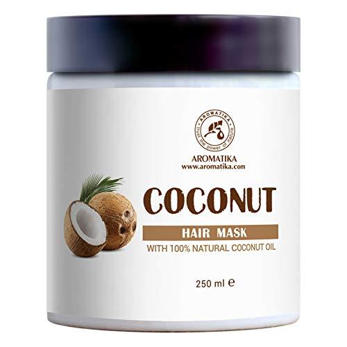 Maschera Cocco 250ml per Capelli con 100% Naturale & Puro Olio di Cocco - per la Crescita e il Volume dei Capelli - per Tutti i Tipi di Capelli - Senza Solfati - Senza Parabeni