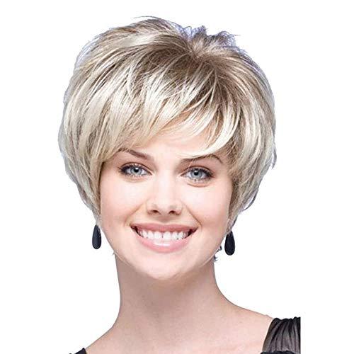 Charming Parrucca di capelli umani per donne, capelli corti biondi con radice, parrucche tagliate, capelli corti alla moda e soffici, senza pizzo, parrucca di ricambio con frangetta