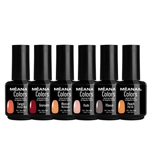 Smalto Semipermanente per Unghie • Cofanetto 6 Colori Gel UV LED • Kit per Manicure Semipermanente con 6 Smalti Nail Polish Soak Off Gel • Norme CE Europee • Meanail Paris
