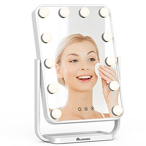 alvorog Specchio Trucco da Tavolo con 12 Lampadine LED, Specchio Cosmetico con 3 Colori di Luminosità Regolabile, Controllo Touch e Rotazione a 360° Professionale di Hollywood, Bianco