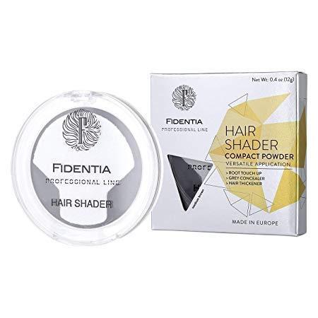 Fidentia Hair Shader Ritocco Radici e Capelli Grigi perfetto e instantaneo - 12g, Marrone Scuro