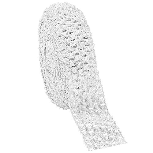 GORGECRAFT 5.5 Yards 1.7' Ampia Fascia Elastica all'Uncinetto Nastro Crochet Tessuto Elasticizzato Trim per Accessori per Capelli Parte Superiore del Tubo, Bianco