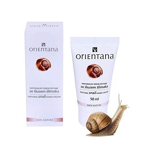 Orientana - Crema per le mani con bava di lumaca - più del 98% naturale - rigenera la pelle secca - sensibile - irritata - combatte le macchie, 50 ml