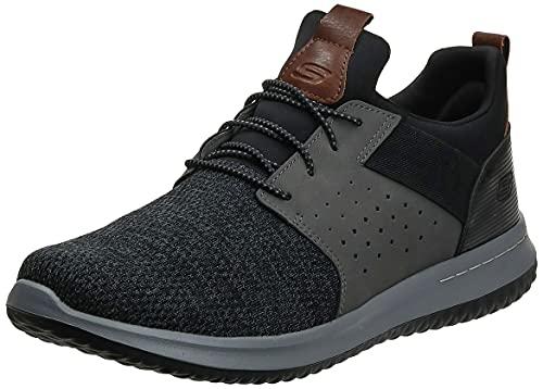 Skechers Men's Classic Fit-Delson-Camden Sneaker, Black/Grey,10 Wide US