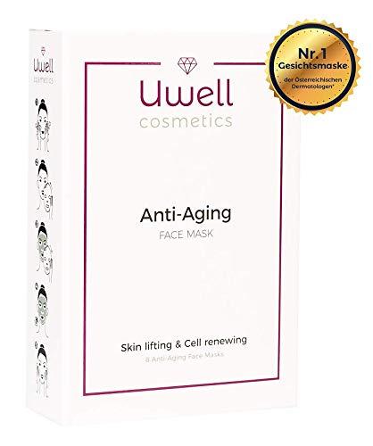 8 pz. Uwell Anti-Aging Mascere Viso | Maschera di stoffa premium | Maschera in vello idrogel aloe vera | Ringiovanente | Riduzione delle rughe | Vegano | semplice applicazione | Confezione da 8 pz