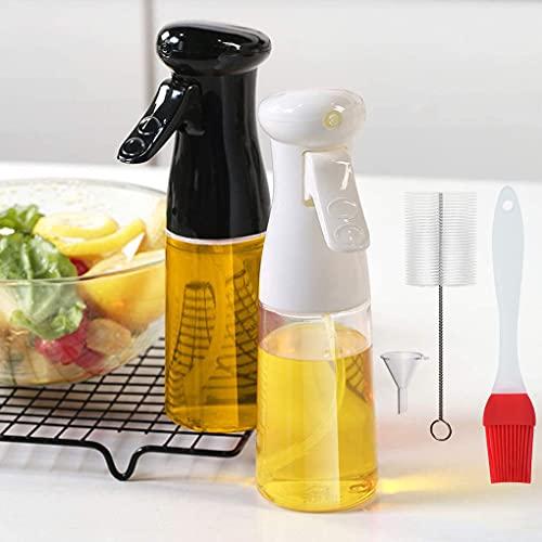 Komake 2 Pezzi Spruzzatore di Olio 210ml, Nebulizzatore Olio Bottiglia Spray, Oil Sprayer Dispenser per Bottiglia Spray per BBQ Cucinare Barbecue Forno Grigliare Insalata, con Spazzole (Nero+Bianca)