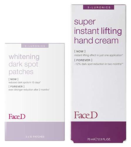 Face D - Kit Anti-Macchia, 30 Patch Schiarenti Anti-Macchia + Crema Mani Lifting Anti-Macchia con filtri UVA/UVB 70 ml