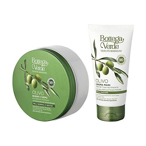 Bottega Verde - Set Olivo - Burro Corpo Nutriente per Pelli Normali o Secche (150 ml) e Crema Mani per Pelli Mature (75 ml) - con Olio d'Oliva di Tenuta Massaini