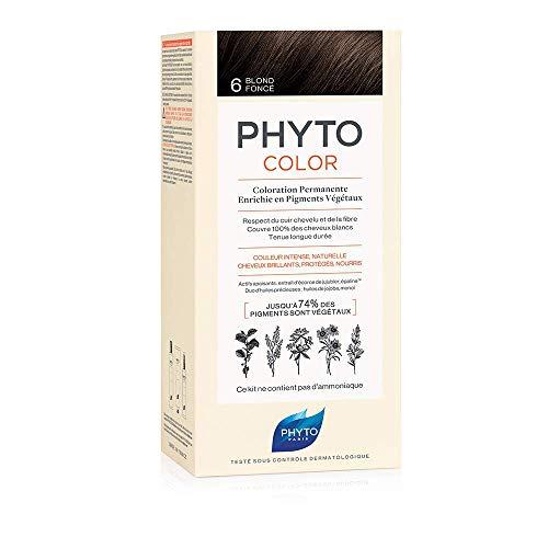 Phyto Phytocolor 6 Biondo Scuro Colorazione Permanente senza Ammoniaca, 100 % Copertura Capelli Bianchi