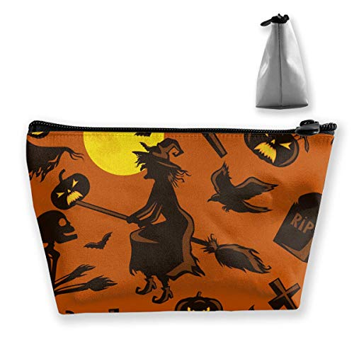 Halloween Pattern Print Waterproof Trapezoidal Bag Cosmetic Bags Makeup Bag Large Travel Toiletry Pouch Portable Storage Pencil Holders