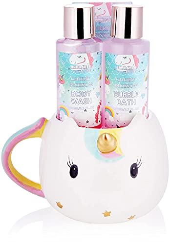 BRUBAKER Cosmetics 4-Pz. Unicorno Set da Bagno e Doccia - Cherry Blossom - Confezione Regalo con Fragranza Fiore di Ciliegio in una Tazza Unicorno