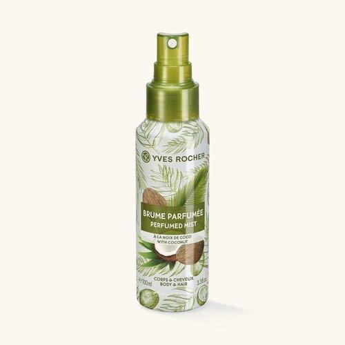 Yves Rocher LES PLAISIRS NATURE Spray di cocco spray rinfrescante per corpo e capelli, 1 flacone con pompa da 100 ml