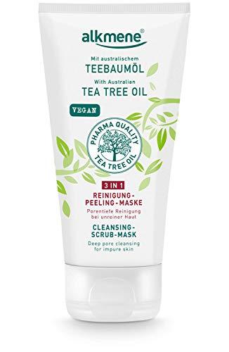 alkmene Tea Tree Oil 3in1 Maschera detergente per la pulizia del viso - Anti brufoli, macchie e arrossamenti - cura vegana del viso - pulizia del viso (1x 150 ml)