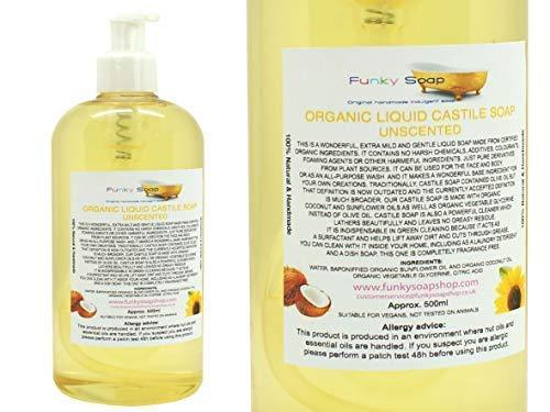 Funky Soap Organico Liquido Sapone di Castiglia, Non Profumato 100% Naturale Senza SLS 500ml