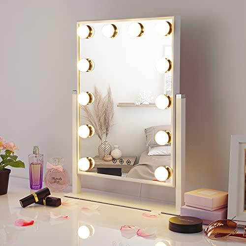 HAMSWAN Hollywood Specchio con luci per toeletta da Trucco, Specchio da Trucco con 12 lampadine LED dimmerabili e Alimentatore, Specchio da Trucco a LED, Specchio ingranditore per Trucchi