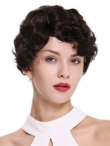 WIG ME UP - LD501-4BH33 Parrucca Donna Corta Anni 20 Swing Charleston Ondulata Riga Mix Castano