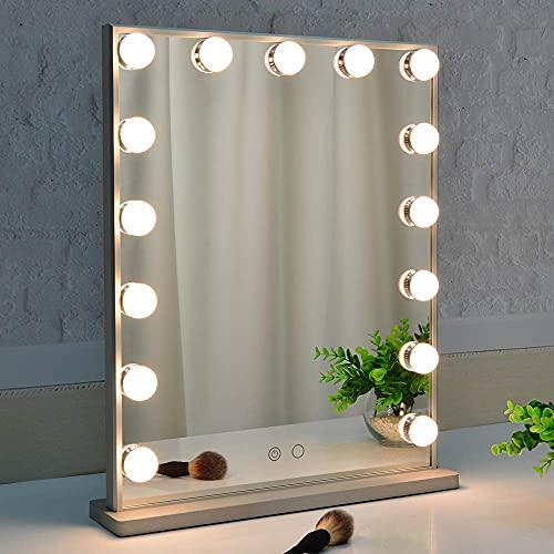 BEAUTME Hollywood Specchio da toeletta con luci, specchio dimmerabile da tavolo / da parete per trucco cosmetico illuminato