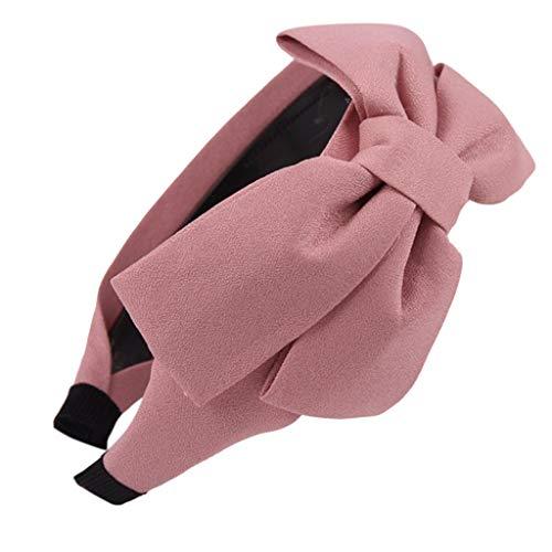 ECMQS - Cerchietto per capelli, da donna, stile antico, grande, con grande arricciatura / a poia / a righe / con stampato a quadri / con fiocco, con dentini antiscivolo, elastico, 18 colori e