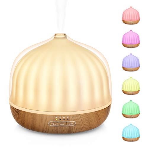 Maxcio 500ml Diffusore di Oli Essenziali con Luci Notturne 7 Colori LED, Senza BPA Umidificatore Ambiente con 2 Modalità di Nebbia, 35dB Diffusore con Funzione Timer, Senz'acqua Spegnimento Automatico