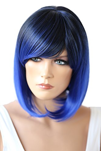 PRETTYSHOP Parrucca da donna Fashion BOB resistente al calore capelli corti colori di variazione miscela blu # 1T3500D SH032q