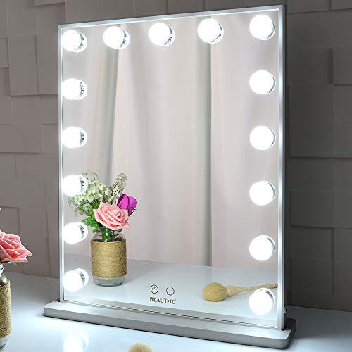 BEAUTME Specchio da toeletta con luci, Specchio da Tavolo/Parete con Illuminazione a Hollywood con 15 lampadine dimmerabili, Specchio cosmetico per Illuminazione di Bellezza (Argento)
