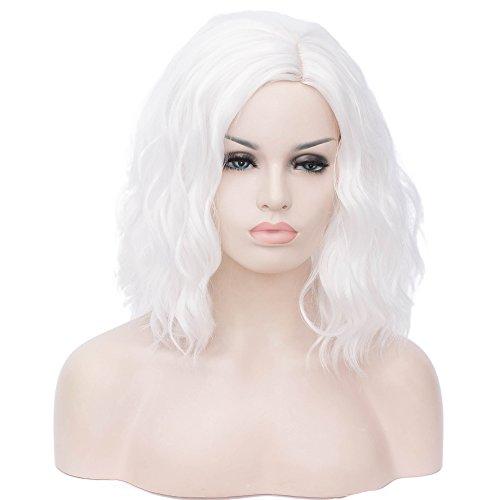 ATAYOU® Donne Parrucche Sintetiche Resistenti al Calore Sintetico Corto ondulato bianco per Halloween e il giorno di Carnevale (bianco)