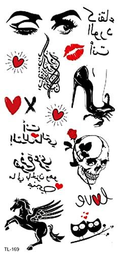 Adesivi Impermeabili Per Il Trasferimento Del Tatuaggio Temporaneo, Adesivi Per Il Corpo Nero Forniture Per Ragazzi Ragazze Forniture Per Adulti Bomboniere Decorazioni Little Love Red Lips Letter M