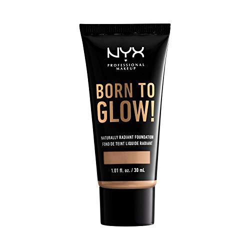 NYX Professional Makeup Fondotinta Illuminante Effetto Naturale Born To Glow, Coprenza media modulabile