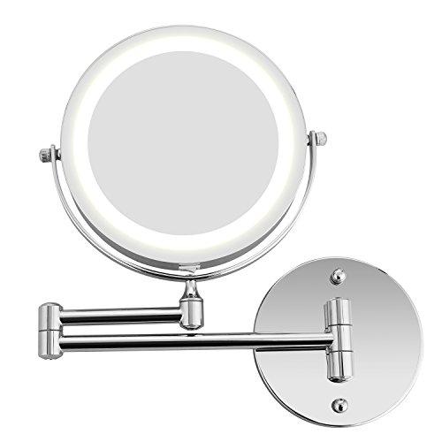 BATHWA Specchio Ingranditore con Luce LED, Specchietti da Trucco a Parete Bilaterali a LED, Girevole Orizzontali a 360 ° e Verticali, Cromato in Metallo, Lente d'Ingrandimento 5X e Specchio Piatto