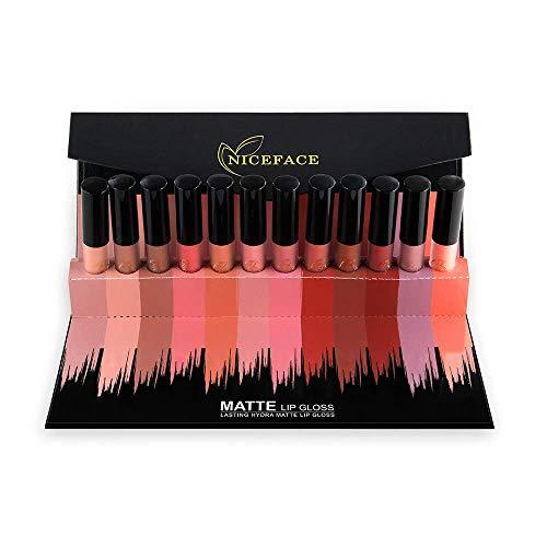 Pannow Lucidalabbra, Liquido rossetto, 12 Colors Matte Nude Lip Gloss Waterproof Durable Beauty set