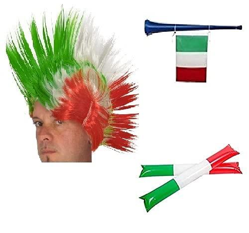 Zeus Party Kit per Partite Della Nazionale Italiana con Parrucca Cresta Tricolore Trombetta e Palloni Gonfiabili Supporta gli Azzurri con Questi Fantastici Gadget Euro 2021