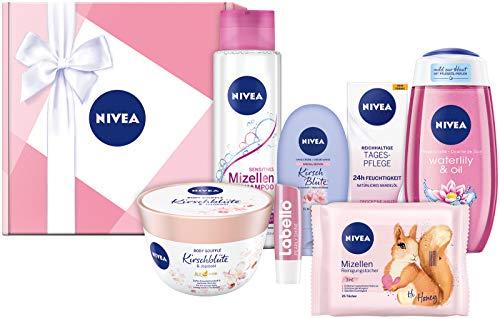 Nivea - Confezione regalo rosa, set per la cura del viso, con shampoo, salviette, cura del giorno, doccia e molto altro ancora, set regalo con prodotti per la cura per momenti speciali di benessere.