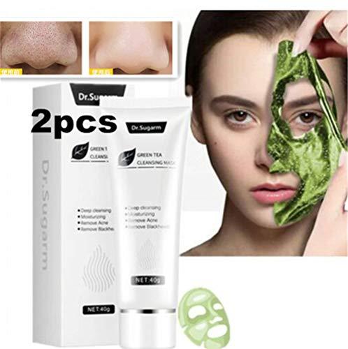 Dr.sugarm Tè Verde Maschera per la Pelle del Viso Rimozione di Comedone Acne Pulizia Profonda, Maschera per la Disintossicazione del Tè Verde, Riduzione dei Pori, Linee Sottili e Rughe (2pcs)