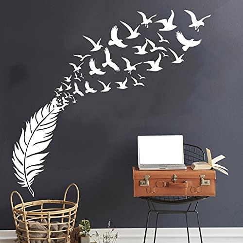 Le piume si trasformano in rondini adesivi murali decorazione camera da letto decalcomanie vinile decorazione della casa adesivi murali Altro colore 29x38cm