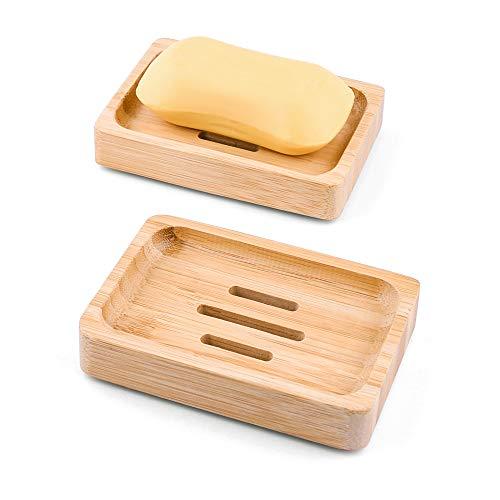 Mutsitaz 2 PCS Porta Sapone in Legno Naturale di bambù Porta Fatto a Mano Sapone Scatola di Sapone per Bagno Doccia Cucina
